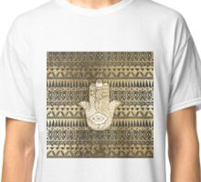 Faux Print Gold Hamsa Hand and Tribal Aztec Classic T-Shirt