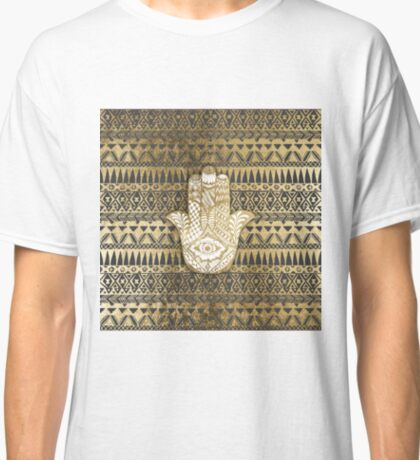 Faux Print Gold Hamsa Hand and Tribal Aztec Classic T-Shirt