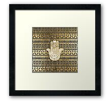 Faux Print Gold Hamsa Hand and Tribal Aztec Framed Print