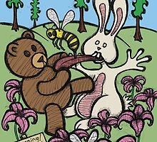 Teddy Bear And Bunny - Do Not Lick The Bees by Brett Gilbert