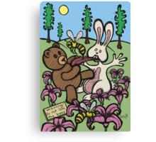 Teddy Bear And Bunny - Do Not Lick The Bees Canvas Print