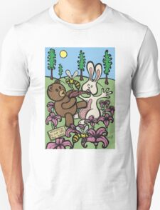 Teddy Bear And Bunny - Do Not Lick The Bees T-Shirt