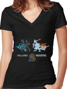 Pokemon Black and White 2 Women's Fitted V-Neck T-Shirt