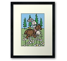 Teddy Bear and Bunny - Sweet Golden Blood Framed Print