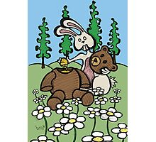 Teddy Bear and Bunny - Sweet Golden Blood Photographic Print