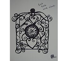Tick Tock Wire Clock  Photographic Print