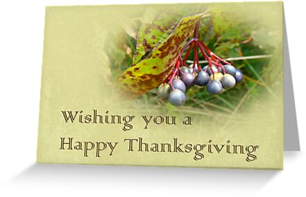 Happy Thanksgiving Greeting Card - Autumn Viburnum Berries by MotherNature