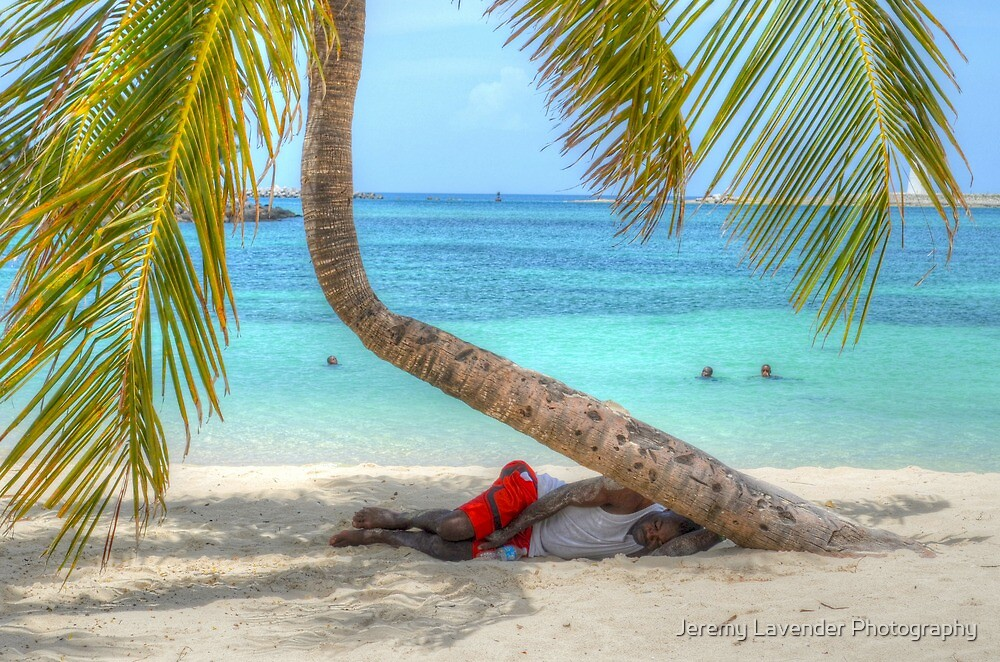 Sleeping on the beach under the Palm Tree by Jeremy Lavender Photography