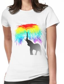 Elephant Rainbow Womens Fitted T-Shirt