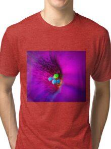 Purple Macro Flower Tri-blend T-Shirt