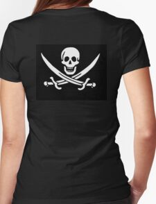 Jolly Roger, PIRATE FLAG, Jack Rackham, Skull & Crossbones, Cutlass, Swords, Pirate, Crew, Buccaneer, white T-Shirt