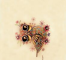 little flower owl iPhone and iPod Case by © Karin Taylor