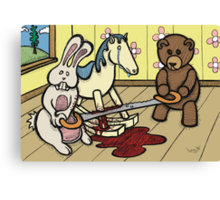 Teddy Bear and Bunny - The Price Of Freedom Canvas Print