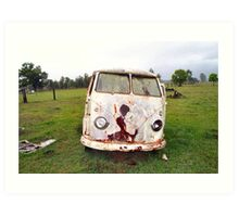 Abandoned Kombi at Farm Art Print