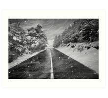 Snowstorm in the road Art Print