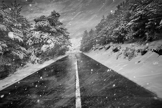 Snowstorm in the road by guidomonta
