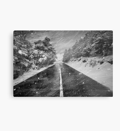 Snowstorm in the road Metal Print