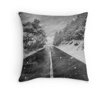 Snowstorm in the road Throw Pillow