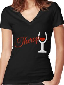 Wine Therapy Women's Fitted V-Neck T-Shirt