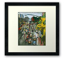 Rainy Day In Metrotown, Burnaby. Framed Print