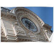 Paris Orleans building - beautiful clock Poster