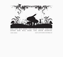 Alice's Adventures in Wonderland Black and White Illustrated Quote Unisex T-Shirt
