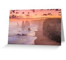 Misty sunset at the twelve apostles Greeting Card