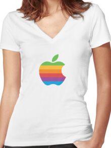 Apple Logo Rainbow Women's Fitted V-Neck T-Shirt