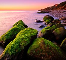 Mossy Rocks Sunset by Keld Bach