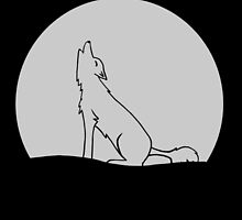 Wolf howling at moon by SladeDesigns