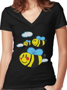 Family bee Women's Fitted V-Neck T-Shirt