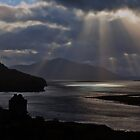 Sun Rays over Eilean Donal Castle by Bel Menpes