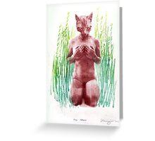 true nature nr 1 cat woman art Greeting Card