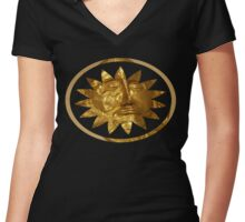 ancient greek golden mask Women's Fitted V-Neck T-Shirt