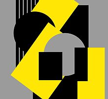 Geometrical abstract art deco mash-up gray yellow by aapshop
