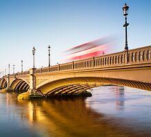 Sunrise warms Albert Bridge by JzaPhotography