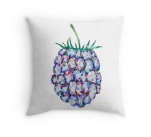 Low Poly Watercolor Blackberry Throw Pillow