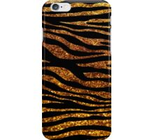 Animal Print, Zebra Stripes, Glitter - Black Gold iPhone Case/Skin
