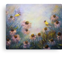 Dream Garden With Goldfinches and Coneflowers Canvas Print