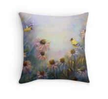 Dream Garden With Goldfinches and Coneflowers Throw Pillow