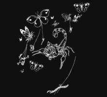 Scorpie Cat (white on black design) by NakedSpaceEagle