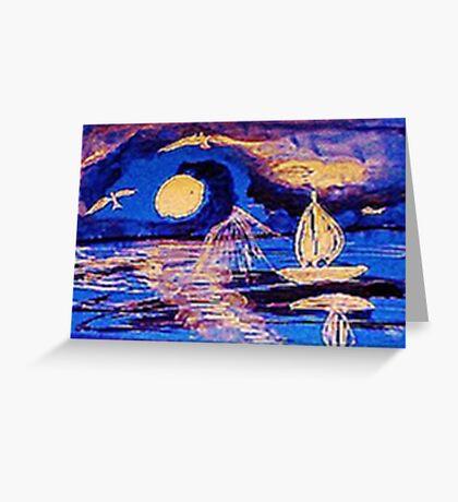 Moonlit sail, watercolor Greeting Card