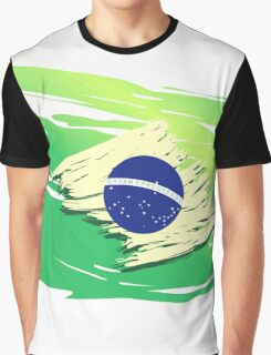 Brazil Torn-style Flag Graphic T-Shirt