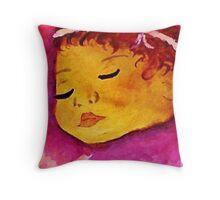 Sweet baby girl, watercolor Throw Pillow