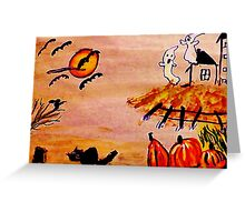 Halloween scene, watercolor Greeting Card