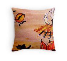 Halloween scene, watercolor Throw Pillow