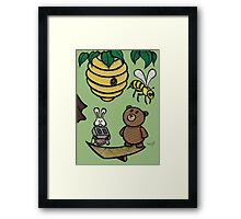 Teddy Bear And Bunny - Without Risk There Is No Reward Framed Print