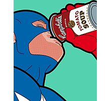 Superhero enjoying can of Campbell's Tomato Soup Pop Art! Photographic Print