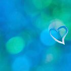 Abstract blue circles and heart love pattern design by Mariannne Campolongo