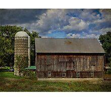 Barn with Silo Photographic Print